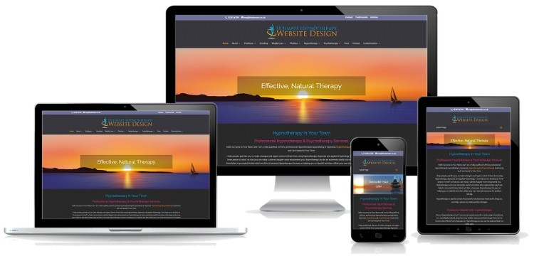 the ultimate hypnotherapy website for therapists - image of site with mobile view