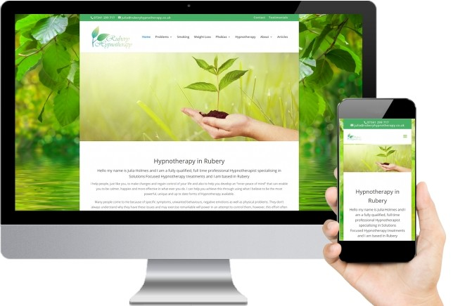 Rubery Hypnotherapy Website Design for Therapists