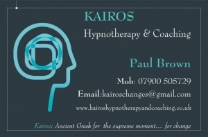 Kairos Hypnotherapy and Coaching website Business Card