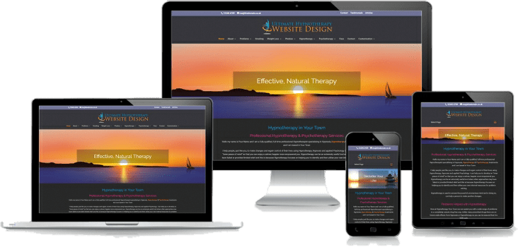 hypnotherapy plus website design for therapists montage